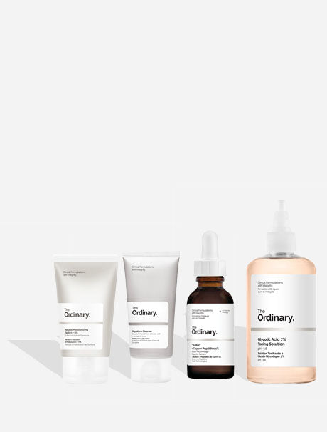 The Ordinary Squalane Cleanser - kasvojenpuhdistustuote, The Ordinary Natural Moisturizing Factors + HA - kosteusvoide, The Ordinary Buffet + Copper Peptides 1% - seerumi ikääntyvälle iholle, The Ordinary Glycolic Acid 7 % Toning Solution - hoitovesi