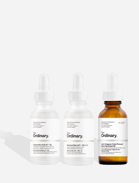 The Ordinary Hyaluronic Acid 2% + B5 -hyaluronihapposeerumi,The Ordinary 100% Organic Cold-pressed Rose Hip Seed Oil -ruusunmarjaöljy, The Ordinary Niacinamide 10% + Zinc 1% -niasiiniamidiseerumi
