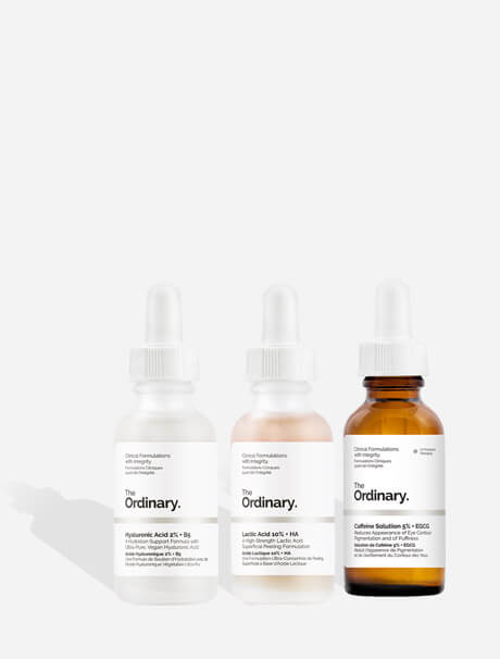 The Ordinary Hyaluronic Acid 2% + B5 -hyaluronihapposeerumi, The Ordinary Lactic Acid 10% + HA 2% -maitohappokuorinta , The Ordinary Caffeine Solution 5% + EGCG -silmänympärysihon hoitotuote