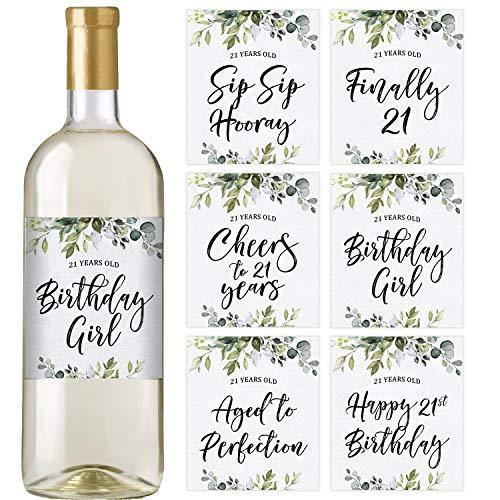 21st Eucalyptus Birthday Wine Bottle Labels | Set of 6