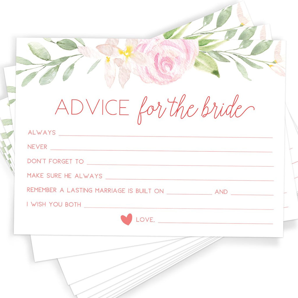 Floral Bridal Advice Cards