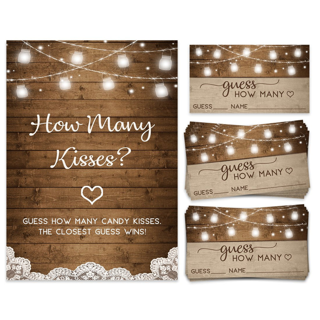 Rustic Bridal Kisses Guessing Game