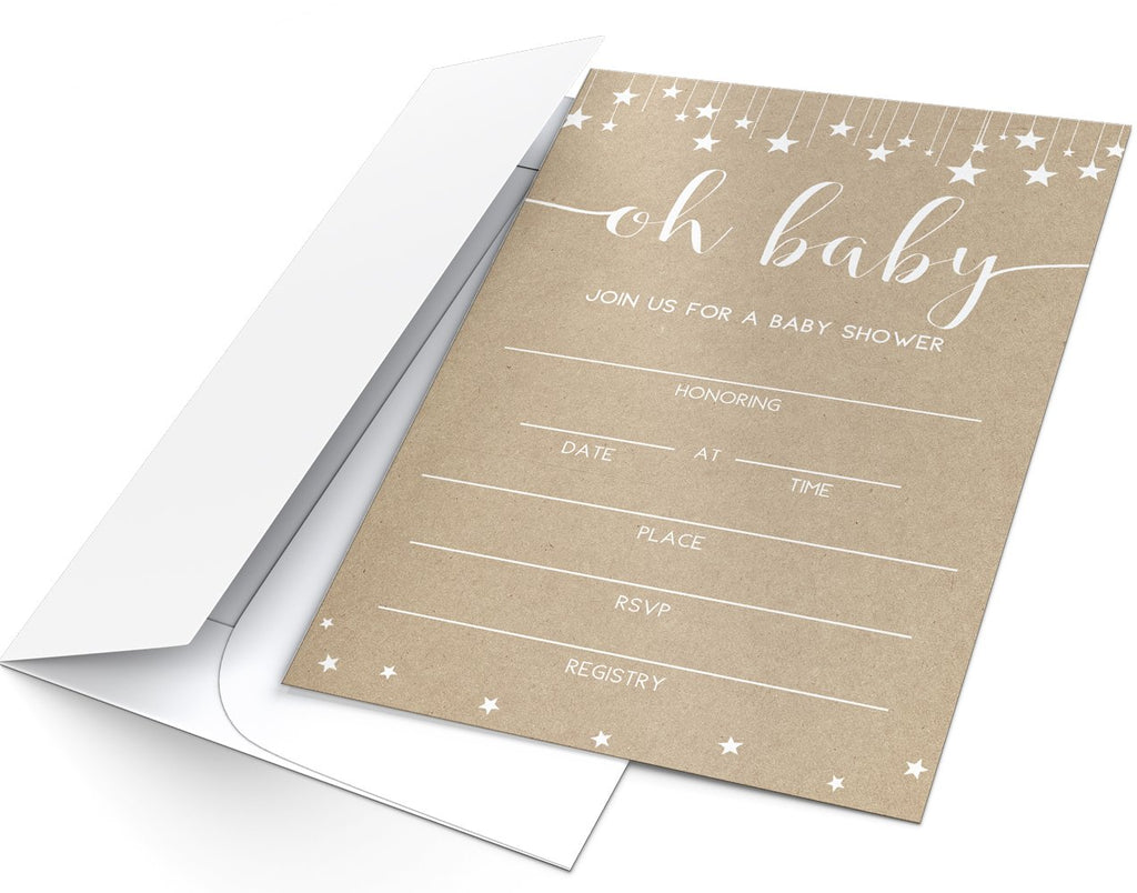 Kraft Baby Shower Invitations