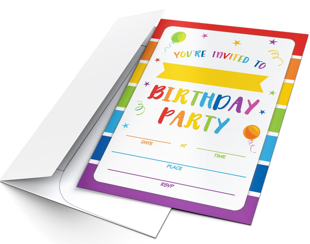 Rainbow Birthday Party Invitations