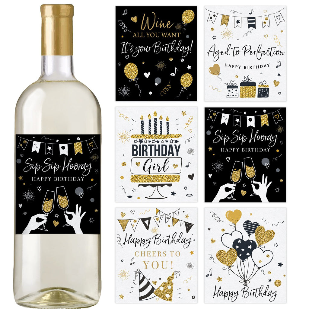 Black and Gold Birthday Wine Bottle Labels