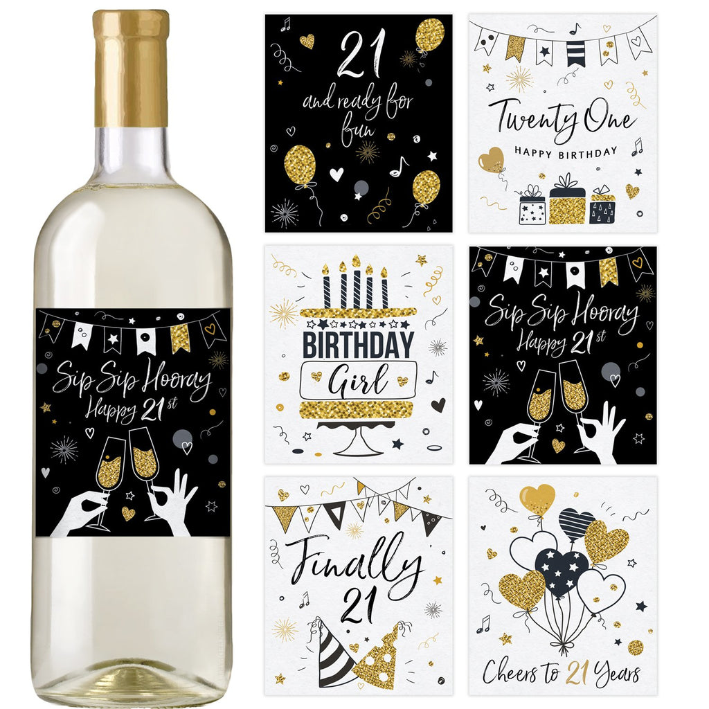 21st Black and Gold Birthday Wine Bottle Labels