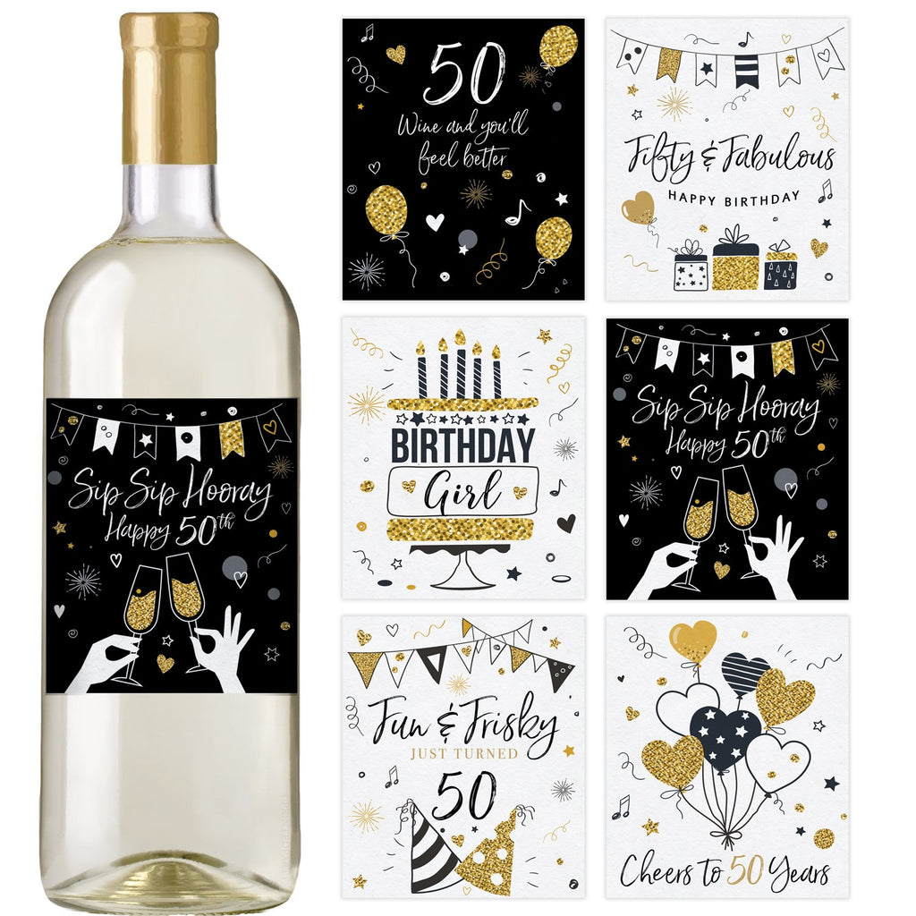 50th Black and Gold Birthday Wine Bottle Labels