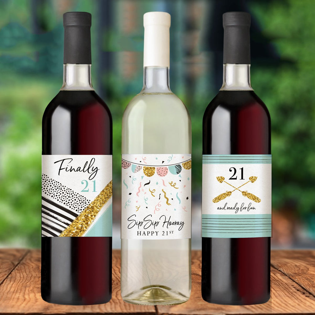 21st Birthday Wine Bottle Labels