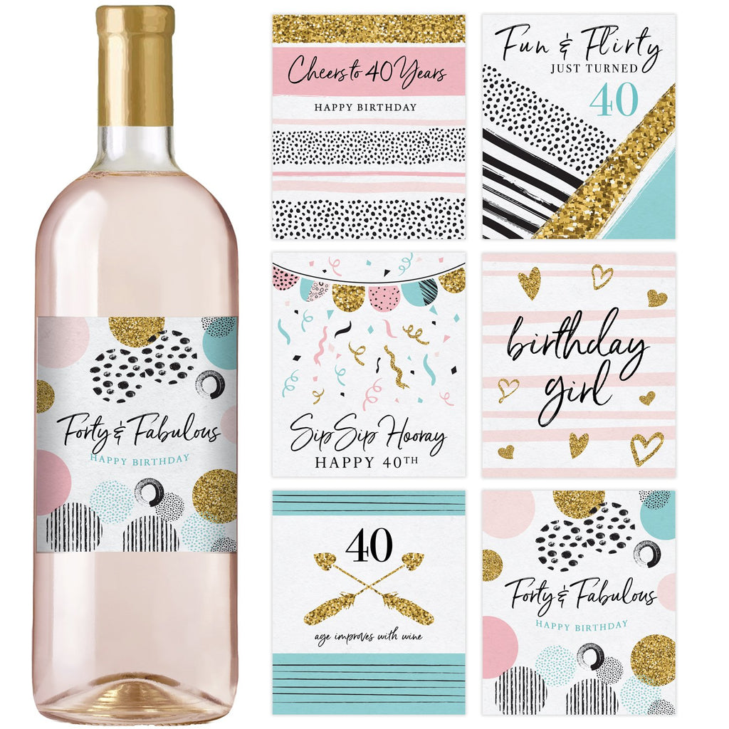 40th Birthday Wine Bottle Labels