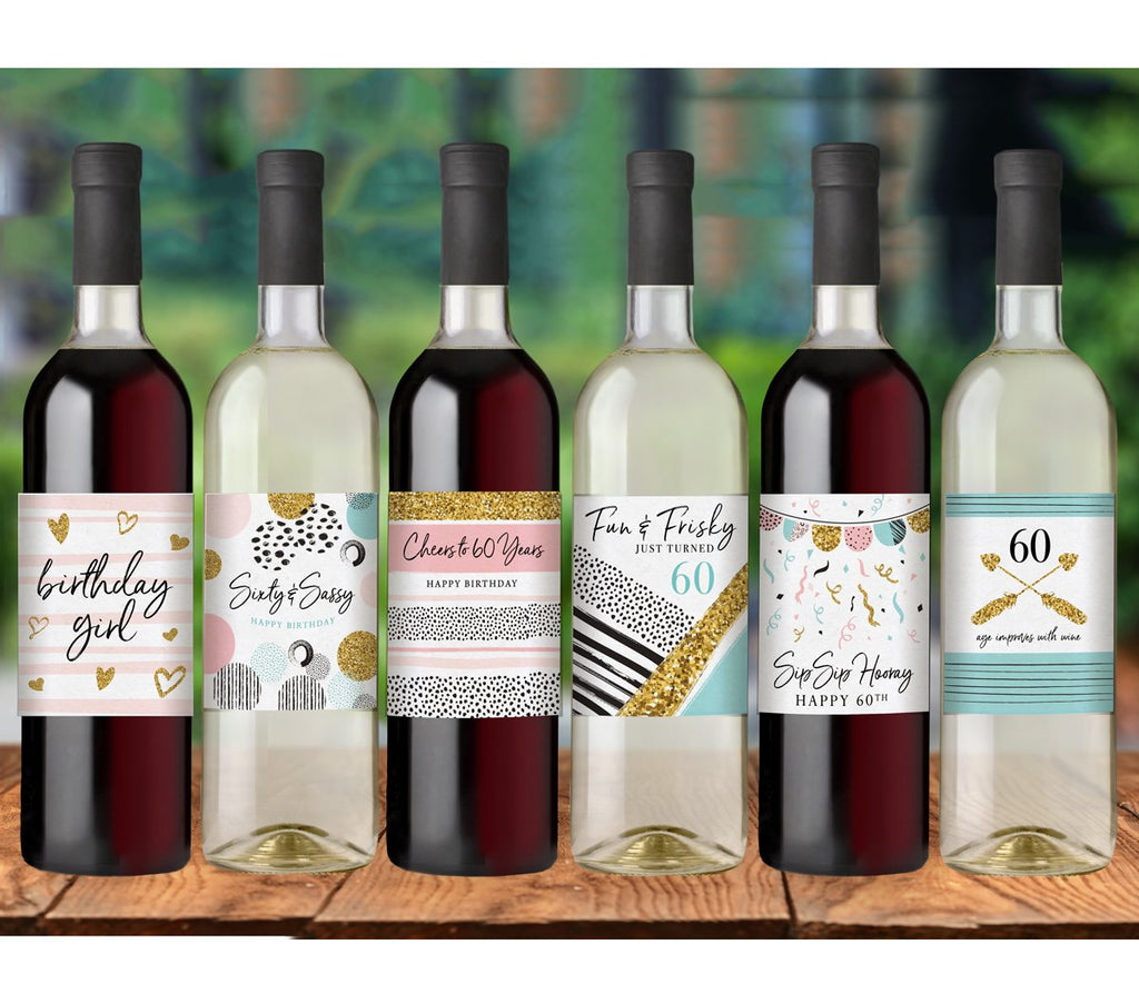 60th Birthday Wine Bottle Labels