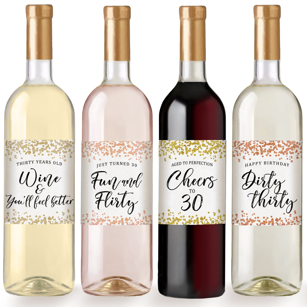 30th Confetti Birthday Wine Bottle Labels