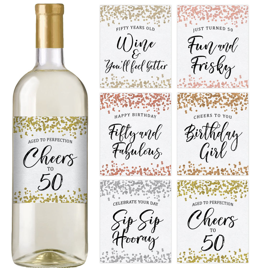 50th Confetti Birthday Wine Bottle Labels