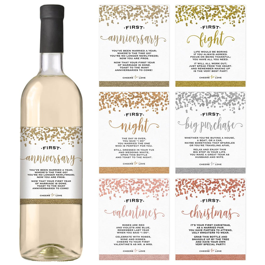 Confetti Wedding Wine Bottle Labels