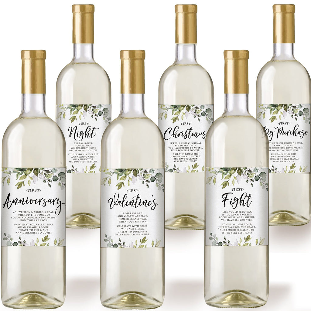 Eucalyptus Wedding Wine Bottle Labels