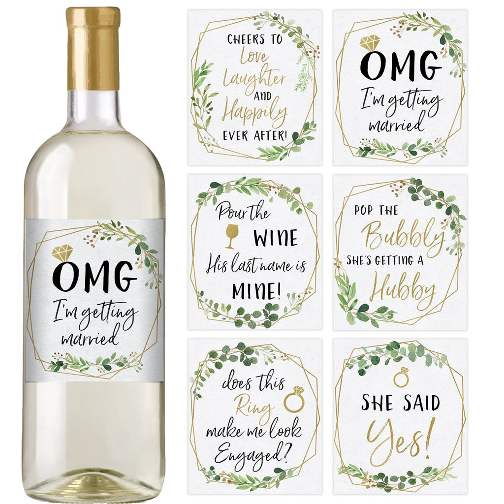 Gold Greenery Engagement Wine Bottle Labels