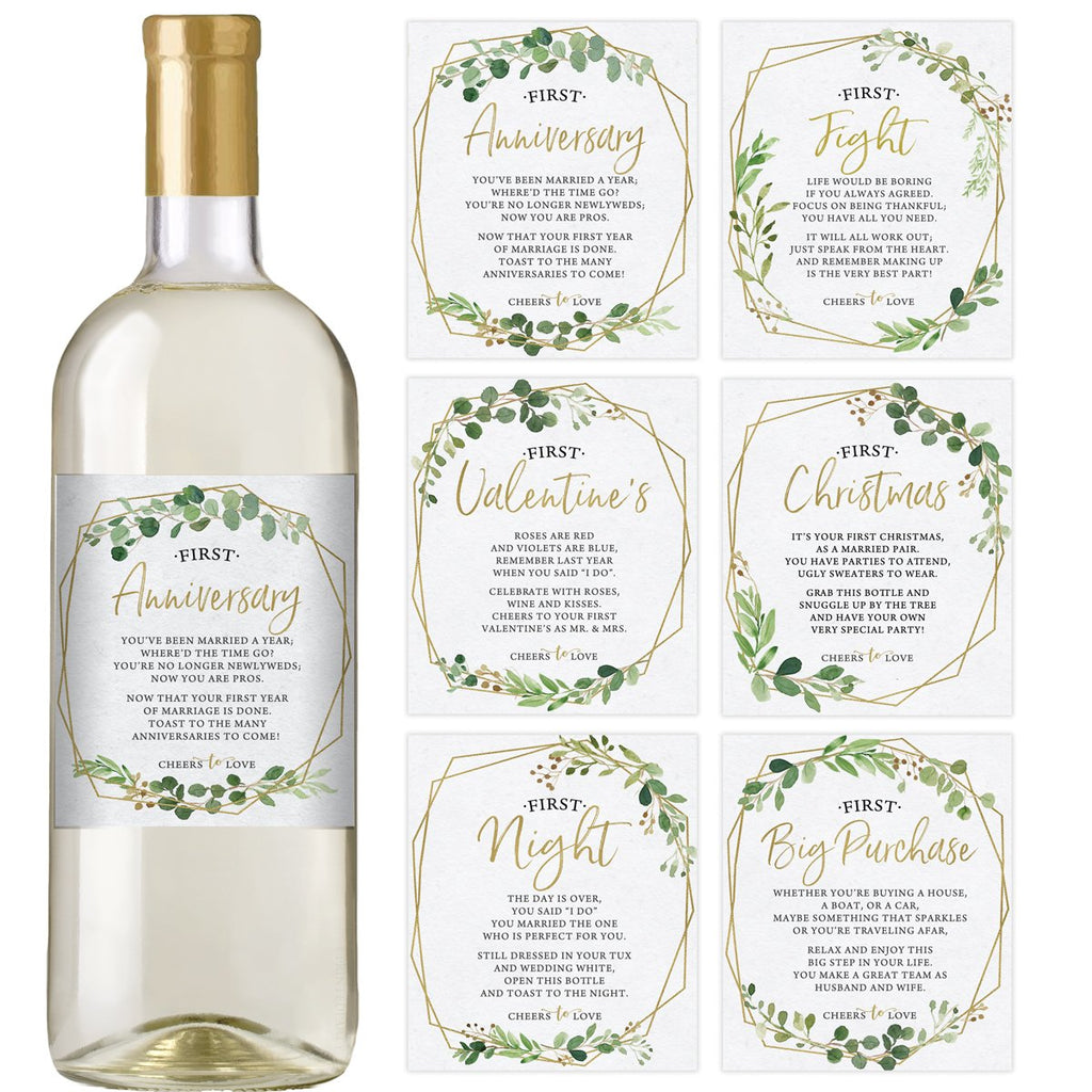 Gold Greenery Wedding Wine Bottle Labels
