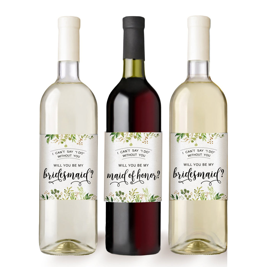 Greenery Bridesmaids Wine Bottle Labels