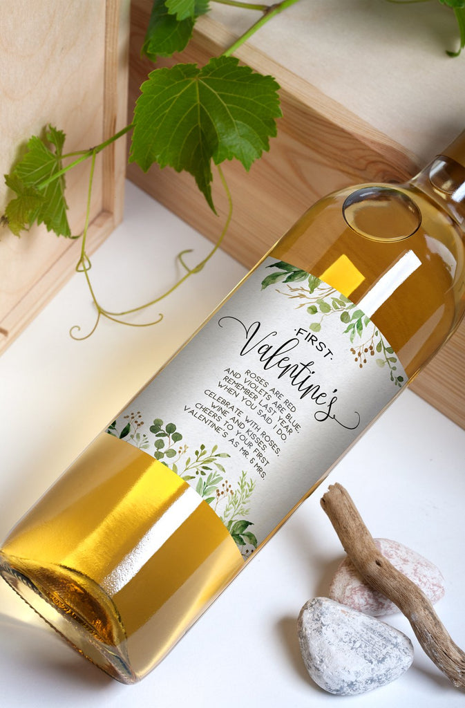 Greenery Wedding Wine Bottle Labels