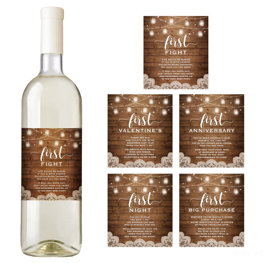 Rustic Wedding Wine Bottle Labels