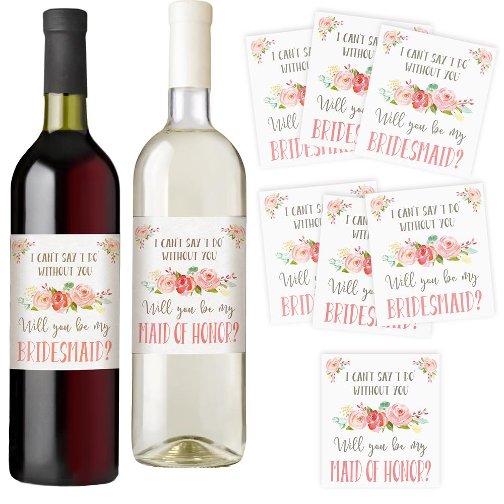 Bridesmaid and Maid of Honor Wine Bottle Labels