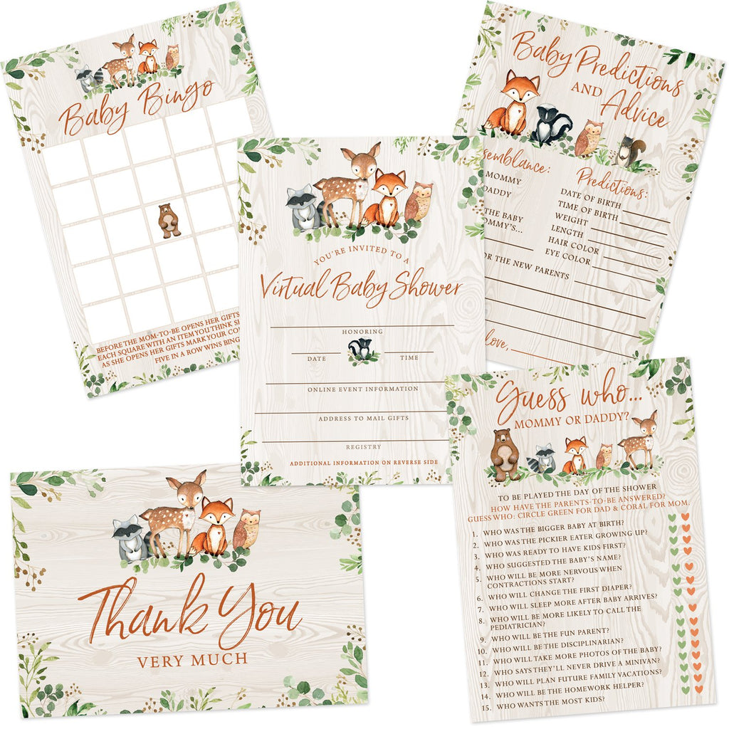 Woodland Animals Virtual Baby Shower by Mail