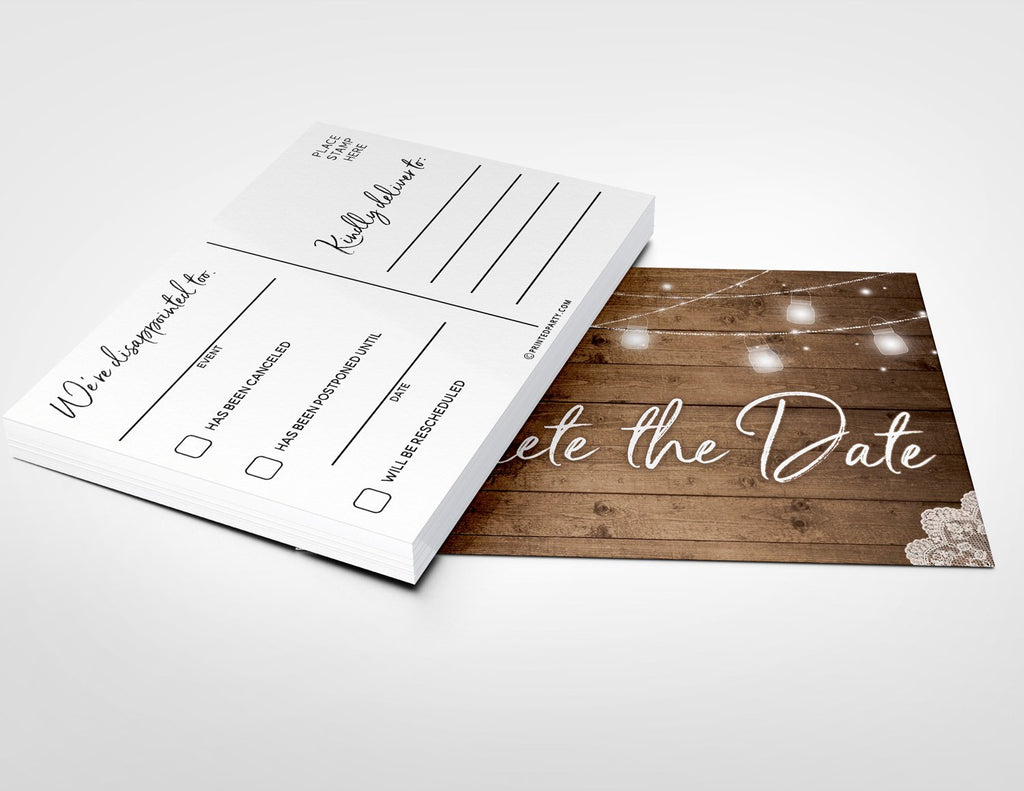 Rustic Change the Date Cards