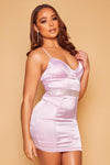 Clarisse Stretch Satin Crystal Bustier Dress- Lilac
