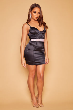 Clarisse Stretch Satin Crystal Bustier Dress- Black