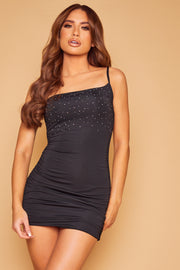 Ashanti Crystal Ruched Dress - Black (Pre-Order)