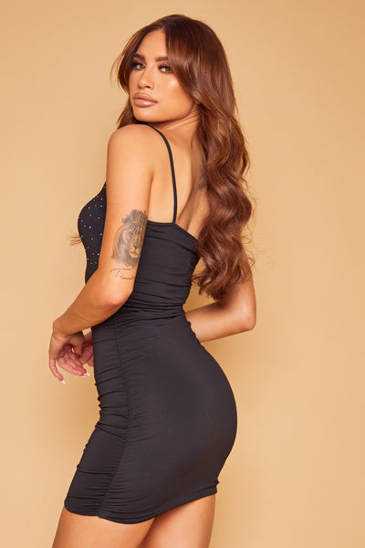 Ashanti Crystal Ruched Dress - Black