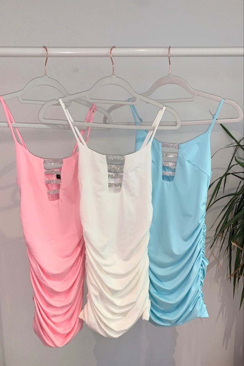 NEW - Gizele Ruched Crystal Dress - Pastel Blue
