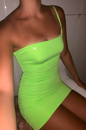 Ashanti Crystal Ruched Dress - Neon Lime Green (Pre-Order)
