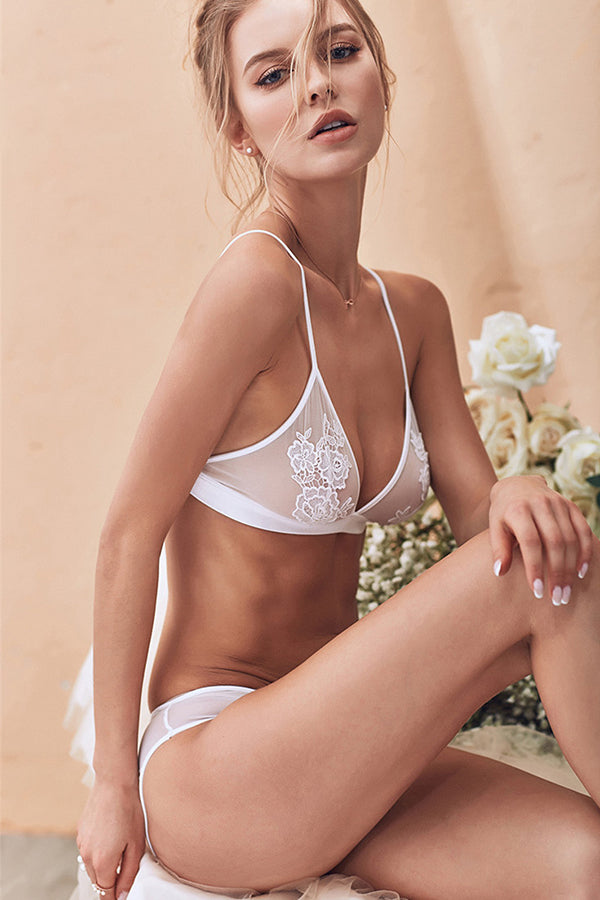 Floral Embroidery Seamless Bra Sets