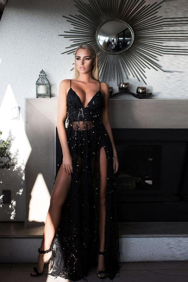 Evening Party Sequined Maxi Dress