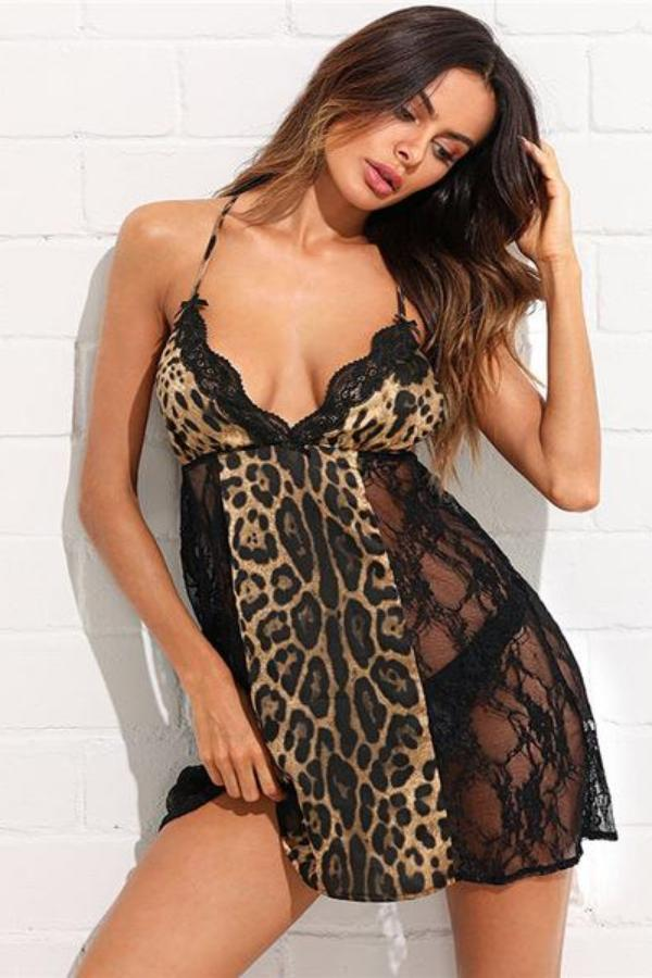 Open Back Leopard Lace Sleepwear