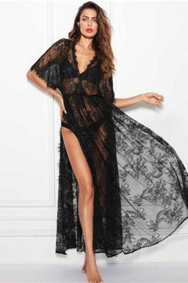 V Neck Wrap Sheer Lace Lingerie Sleepwear