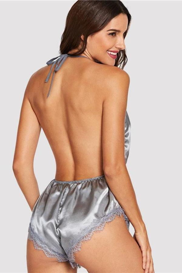 Backless Lace Sleep Rompers