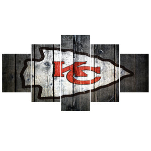 5 Pcs Letter Sport Team Chiefs Paintings Wall Home Decor Kansas City Picture Canvas Painting Calligraphy