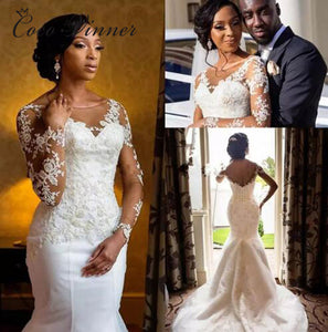 Backless Court Train Long Sleeve Wedding Dress Mermaid Style White Color  Lace Appliques Africa Vintage Wedding Dresses W0365