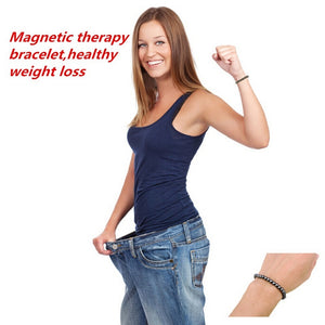 Weight Loss Round Black Stone Bracelet Health Care Magnetic Therapy Bracelet Hot