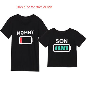 Kids Mama Boy Printed Tops Mama Baby Short Sleeve Arrow Black Cotton T Shirt