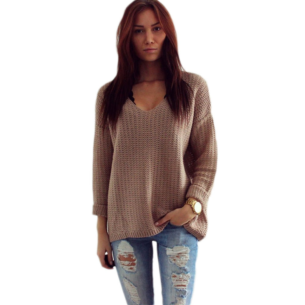 Womens Long Sleeve V,Neck Pullover Jumper Cardigan Ladies Loose Sweaters  Winter Warm Femme Vestidos
