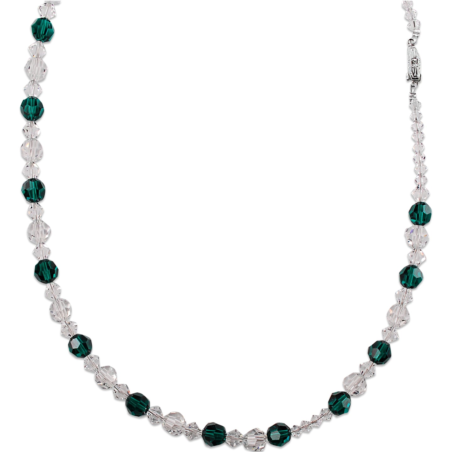 Crystal and Emerald Beaded Necklace (Long)