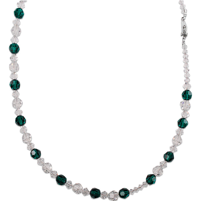 Crystal and Emerald Beaded Necklace (Short)