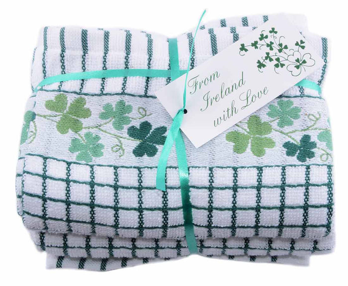 Poly-dri Jacquard Towel with Shamrock Design - Two Pack