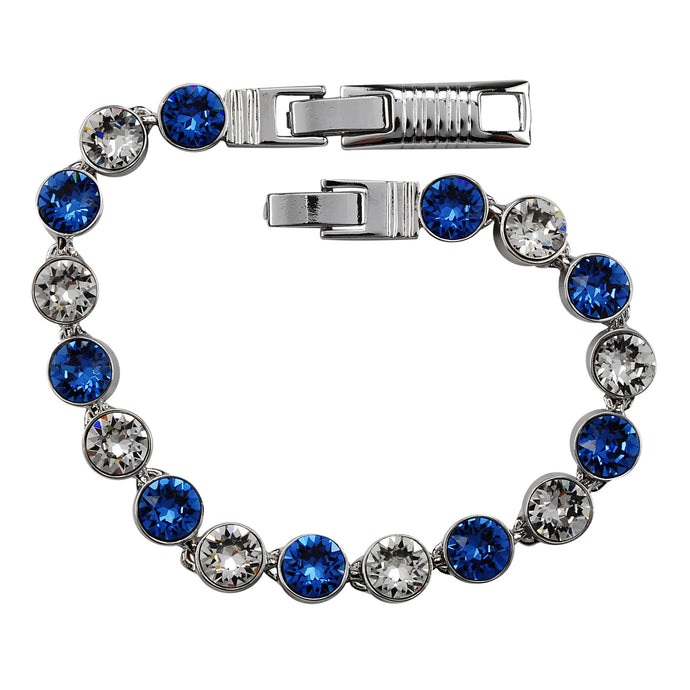 Sapphire and Clear Crystal Tennis Bracelet