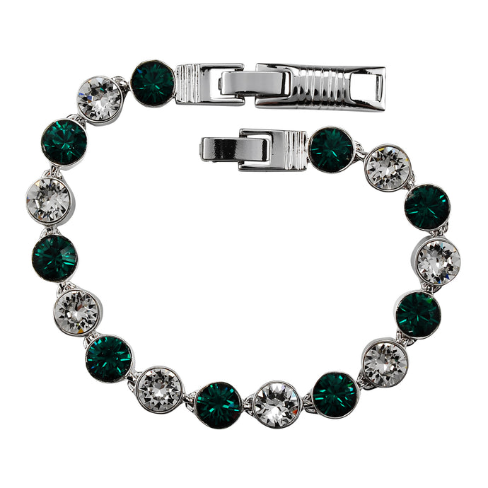 Emerald and Clear Crystal Tennis Bracelet