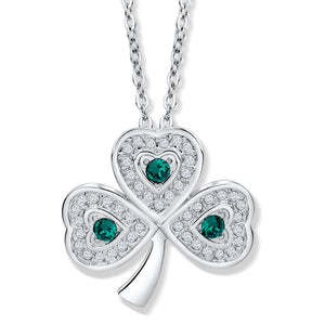 Shamrock Pendant with Emerald Green and Clear Crystals - Large
