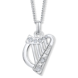 Harp Pendant with Clear Crystals