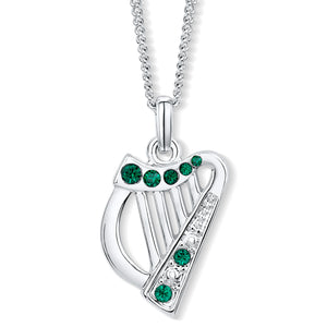 Harp Pendant with Emerald Crystals